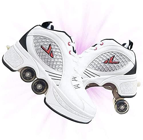 Eortzzpc Patines Patines, 2 en 1 Patines multifuncionales para niñas y niños con Zapatos de deformación de Rueda de Doble Fila retráctiles para Caminar automáticos. (Color : 35)
