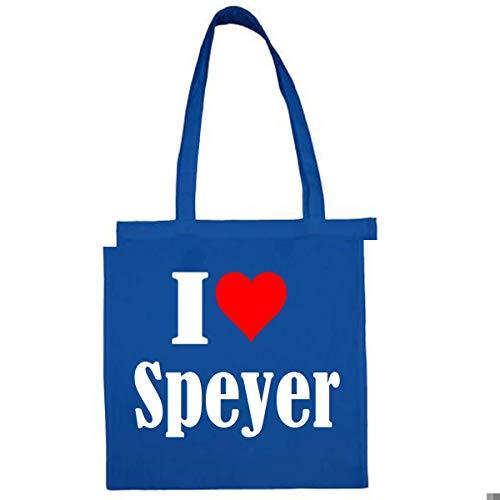 Tasche I Love Speyer Größe 38x42 Farbe Grau Druck Schwarz