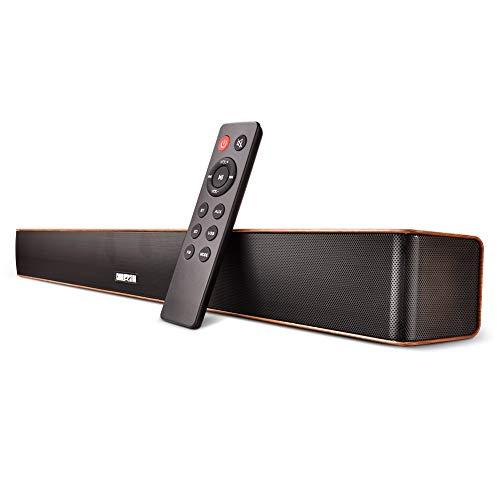 Barras de sonido para TV Barra de sonido Bluetooth Cableado e inalámbrico Altavoz de audio Bluetooth Sonido envolvente subwoofer inalámbrico para Incluye cable óptico y control remoto(Grano de madera)