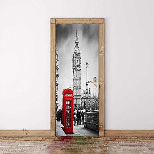 BXZGDJY 3D Pegatinas Decorativas De Puerta Vista De Renovación De Puerta Pared...