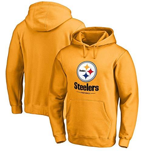 Herren und Damen American Football Hoodie NFL Pittsburgh Steelers Jersey Kapuzenpullover Lose American Football Sweatshirt T-Shirt Geeignet für Frühling und Herbst, Gelb, M