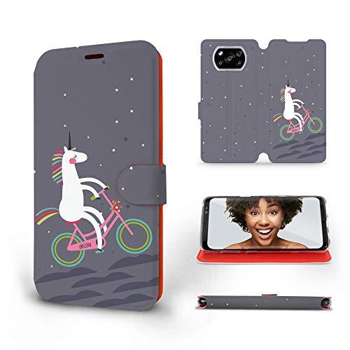 Mobiwear | Slim FLIP Case | Kompatibel mit Xiaomi Poco X3 NFC, Made in EU handyhülle, Premium Schutzhülle, Transparent TPU Silicon, Book Style Hülle, Tasche - Einhorn auf dem Fahrrad