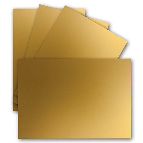 50 Einzel-Karten DIN A6-10,5 x 14,8 cm - 240 g/m² - Gold Metallic - Tonkarton - Bastelpapier - Bastelkarton- Bastel-Karten - blanko Postkarten