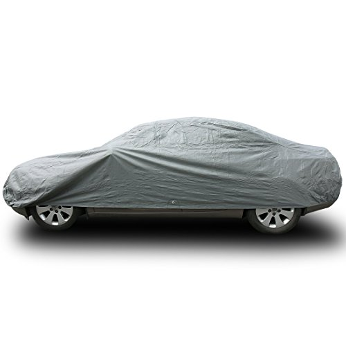 Copap Car Covers 3 Layers Universal Fit Full Cover Front Rear Elastic Hems Draw Strings Water Dust UV Proof Fit up to 170