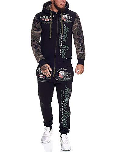 OneRedox | Herren Trainingsanzug | Jogginganzug | Sportanzug | Jogging Anzug | Hoodie-Sporthose | Jogging-Anzug | Trainings-Anzug | Jogging-Hose | Modell JG-512 Oliv Camouflage S