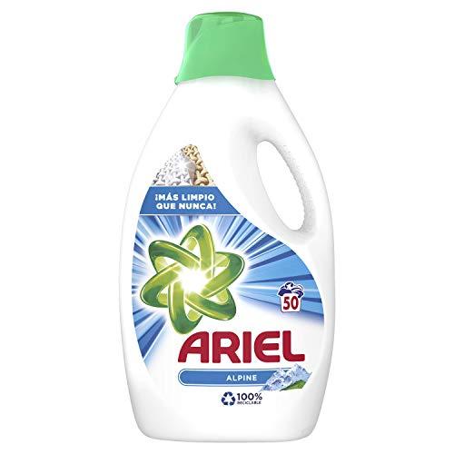 Ariel Detergente Líquido para Lavadora, Frescor Los Alpes, 2.7 L, 50 Lavados