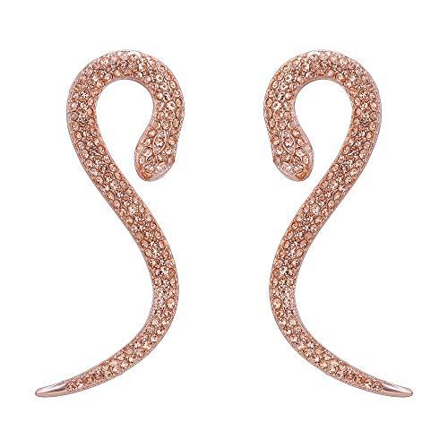 EVER FAITH Mujer Cristal Austríaco Níquel Fiesta Serpiente Perforado Colgante Pendientes Color Champagne Tono Oro Rosado