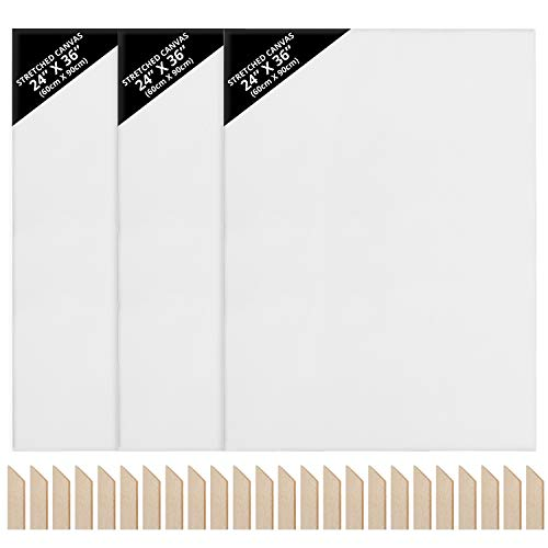 Kurtzy Leinwand zum Bemalen Set (3er-Pack) 60 x 90 cm - Großes Bespanntes Leinwand Set mit Holzkeilen Spannrahmen Leinwand - Geeignet für Acryl- und Ölmalerei Sowie zum Skizzieren und Zeichnen
