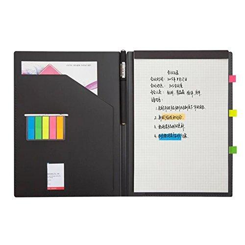 Homehalo クリップボード ビジネス手帳 付箋付き 多機能 多収納 多ポケット システム手帳 カバーノート シンプルなデザイン A4用紙 (L)