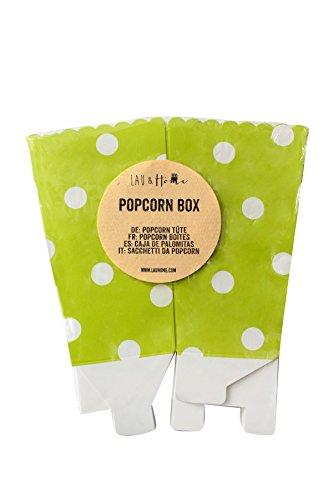 Lau&Home Pop-Corn Boîtes Sac pour Fête - Points - Vert 5 Pack (60 Boxes)