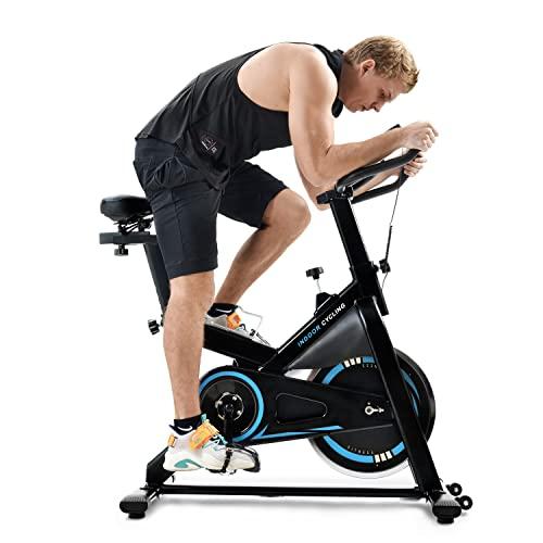 WZFANJIJ Bicicleta estática para Casa, Entrenador eliptico, LCD Pantalla, sensores de Pulso, Ajuste de Resistencia,Blue