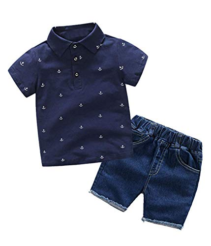 Angcoco Little Boys Polo Collar Pullover T-Shirt+Short Jeans Outfits Sets