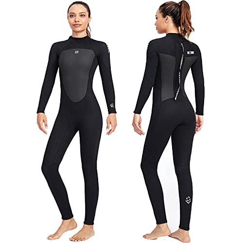 Traje de neopreno para hombres y mujeres, traje de buceo de neopreno de 3 mm, manga larga térmica gruesa de cuerpo completo, trajes de buceo para surf, traje de baño de una pieza para esnórquel