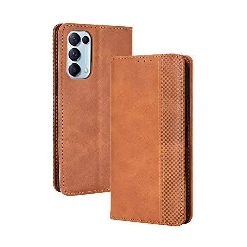 LEYAN Leder Folio Hülle für Oppo Find X3 Lite, Lederhülle Brieftasche Mit Kartensteckplätzen, Premium Flip PU/TPU Handyhülle Schutzhülle Hülle Cover mit Ständer Funktion (Braun)