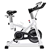 ERGO LIFE Exercise Bike Stationary Indoor Cycling Bicycle, Stationary Spin Bike with Tablet Holder/Pulse Sensor/LCD Monitor for Home Cardio Workout, 330Lbs Weight Capacity (White09062)