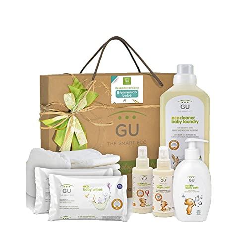 Canastilla para Bebé Recién Nacido - 20 Ecopañales - 2 Packs de Toallitas Húmedas - Gel de Baño - Crema Hidratante - Crema de Pañal - Detergente para Ropa - Ideal para Padres - GU Planet