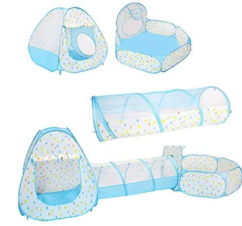 XIAOWANG Play Children's Tent Girl Play Tent con túnel, niños Pop Up Toy Tent with Grawling Tunnel y Ballebad Copillas Plegables de Playera Playera para el Interior del jardín al Aire Libre,B