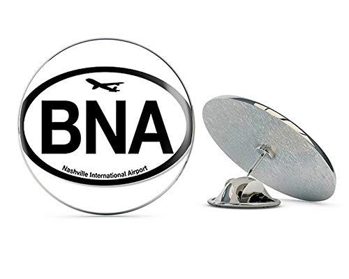 "NYC Jewelers Oval BNA Nashville Airport Code (Jet Fly air hub Pilot tn) Metal 0.75"" Lapel Hat Pin Tie Tack Pinback"