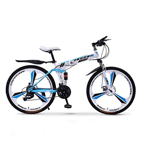 Chenbz Outdoor sports Mountain Bike Folding Bikes, 27Speed Double Disc Brake Full Suspension AntiSlip, OffRoad Variable Speed Racing Bikes for Men And Women (Color : B1, Size : 24 inch)