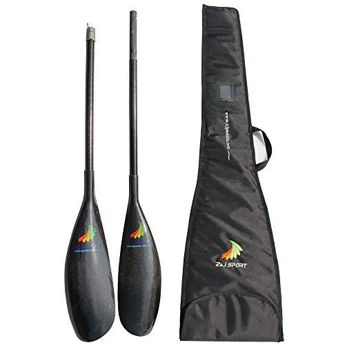 ZJ Sport in Fibra di Carbonio ad Alta Prestazioni e leggerezza Kayak pagaie con Gamma Knife e l'ala di Carbonio Asta del regolatore in Alluminio Tondo (ZJ-JM (16.2 * 49CM), 210-220CM)