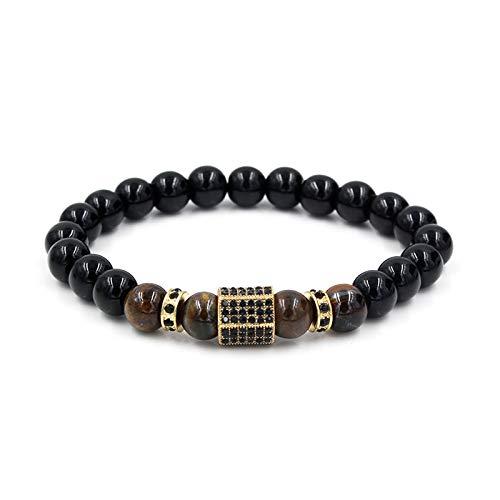 1 unid hombres pulseras cuentas pulseras para hombres negro piedra incrustaciones Zircon oro espaciador pulseras