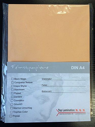 25 vellen DIN A2 abrikoos papier 170 g/m2 van Top Lamination - volledig gekleurd - voor printers