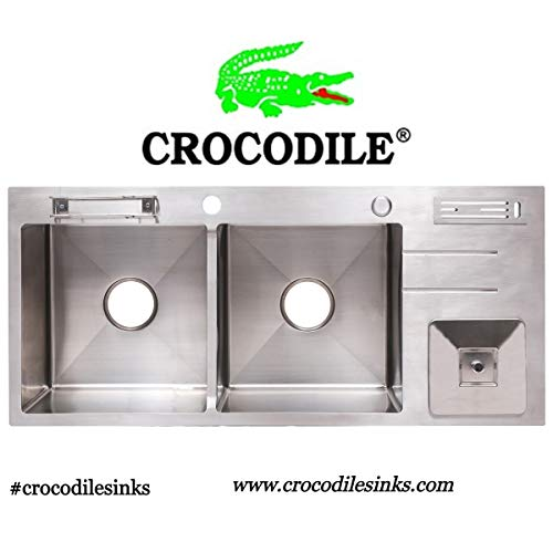 "CROCODILE 304 Grade Stainless Steel Double Bowl Dustbin Handmade Kitchen Sink (43"" x 18"" x 10"")"