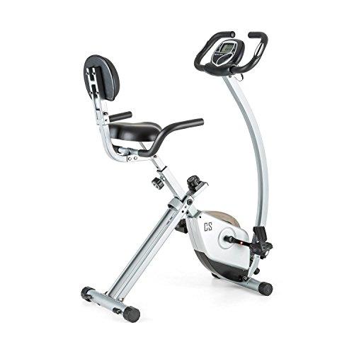 CapitalSports Trajector Bicicleta estática Plegable (Dispositivo de Entrenamiento con 3Kg de Masa giratoria, sillín Extra Ancho, 8 Niveles de Resistencia, Monitor) - Plateado