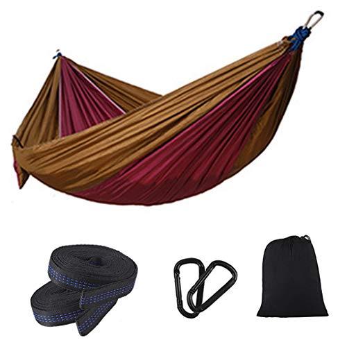 Mengmengda Hamaca individual doble camping ligera portátil para senderismo al aire libre viaje mochilero - Hamaca de nylon Swing