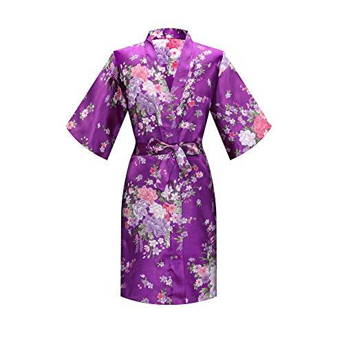 MORFORU Girls Kids Daffodils Silky Satin Kimono Robe Sleepwear for Wedding Spa Party, Short (Purple, Tag 8 for 3'3'-3'7' Girl)