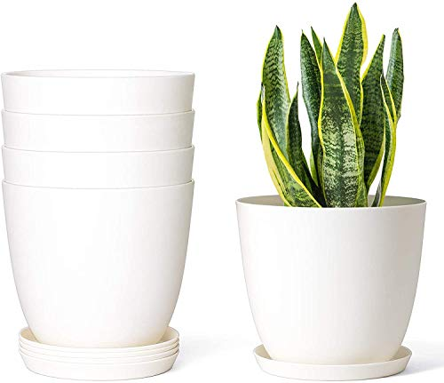 Mkono 6.5″ Plastic Plant Pots for Plants with Saucers, Indoor Set of 5 Plastic Planters Modern Flower Pot with Drainage Hole for All House Plants, Herbs, Flowers, and Seeding Nursery, Cream White