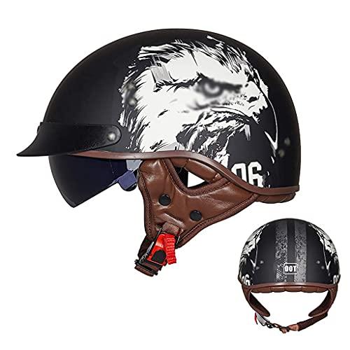LAMZH Casco de motocicleta medio casco de motocicleta con certificación DOT con visera solar cinturón de liberación rápida para bicicleta Cruiser Scooter, protección (color: A, tamaño: L)