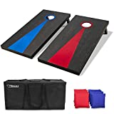 GoSports Solid Wood Premium Cornhole Set | Regulation Size 4'x2' Boards, Black; Red and Blue