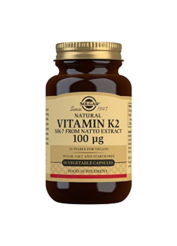 Solgar Natural Vitamin K2 (MK-7) 100 µg Vegetable Capsules - Pack of 50
