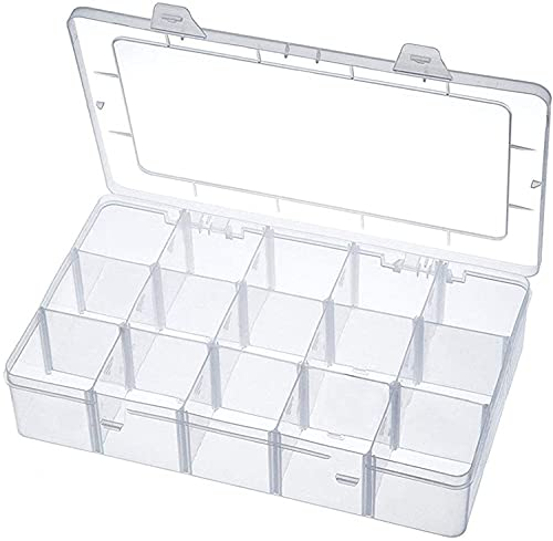 SISITAR Caja de almacenamiento de plástico, 15 compartimentos, caja de plástico transparente, joyeros para joyas, piezas pequeñas, pendientes, caja de clasificación, caja de herramientas