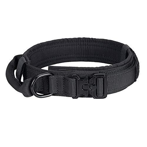 EXCELLENT ELITE SPANKER Taktisches Hundehalsband Mit Griff Halsband K9 Training Nylon verstellbar Nackengürtel für Hunde(Schwarz-M)