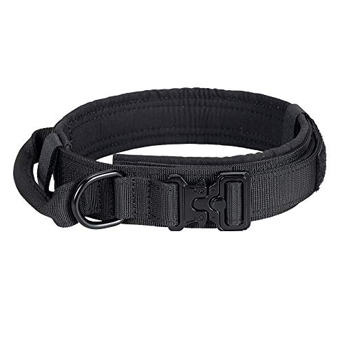 EXCELLENT ELITE SPANKER Tactical Dog Collar Nylon Adjustable K9 Collar Military Dog Collar Heavy Duty Metal Buckle with Handle(Black-L)