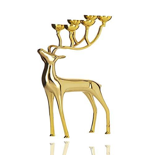 DAMAI STORE Kreativer Hauptdekor Tisch Ornament Kerzenständer/Candle-Light-Dinner Table Kerzenständer/Metal Kerzenständer Hochzeit (Color : Gold)