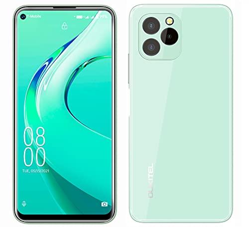 Android 11 Teléfono Móvil Libre OUKITEL C21 Pro, Diseño de Vidrio Completo, 4GB+64GB, 256GB SD Externa, Cámara Triple 21MP, Dual SIM, Pantalla HD+ 6.39'',Huella Digital,Identificación Facial Verde