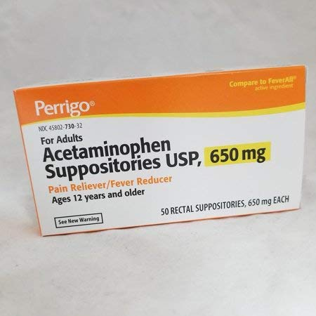 Perrigo Acetaminophen Suppositories USP, 650 mg Pain Reliever/Fever Reducer, 50 ea