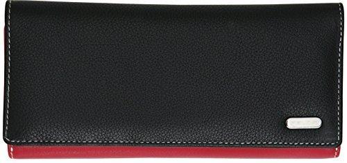 Felda - Damen Geldbörse mit 23 Kartenfächern & Münzfach - RFID-Blocker - aus Echtleder - längliches Format - Schwarz Mehrfarbig