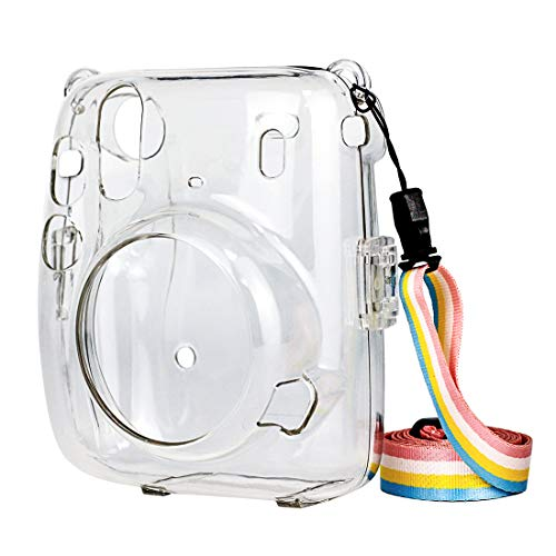 Protective Clear Case for Fujifilm Instax Mini 11, Crystal Camera Case with Adjustable Rainbow Shoulder Strap for Fujifilm Instax Mini 11