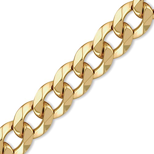 Jewelco London Men's Solid 9ct Yellow Gold Traditional Heavy Weight Curb Link 20mm Gauge Chain Bracelet, 9 inch