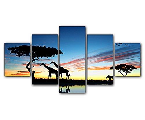 deinebilder24 - Kunstdruck Leinwand Keilrahmen - 5-teilig 80 x 160 cm - Zwei Giraffen im Sonnenuntergang