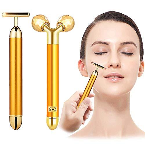 2-IN-1 Beauty Bar 24k Golden Anti Aging Antifalten Massagegerät für das Gesicht, T-förmiges und 3D Rolle Sonic Gesichtsmassagegerät Wiederaufladbare Galvanic Zauberstab für Dark Circles und Puffiness