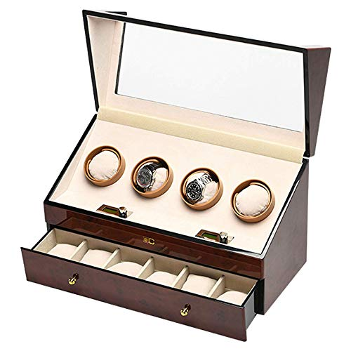Automatic Wood Watch Winder Box with 4+6 Storage Space Luxury Rotating Watch Box for Men And Women Soft Flexible Plush Pillow Silent Motor
