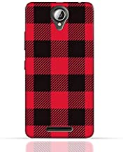 Lenovo A5000 TPU Silicone Case with Red and Black Plaid Fabric Design
