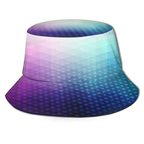 Yoliveya Sombrero de Pesca,Fondo Degradado con pequeño gráfico de Figuras geométricas de triángulo Fractal,Senderismo para Hombres y Mujeres al Aire Libre Sombrero de Cubo Sombrero para el Sol