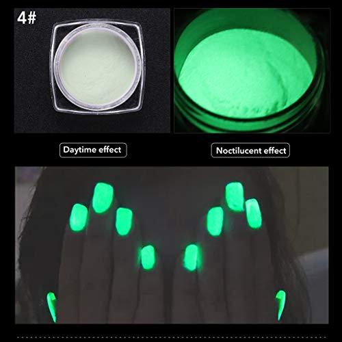 VANMO Fluoreszierendes Pulver Selbstleuchtend | Nachtleuchtende Pigmente,1 Schachtel Nagellack + 1...