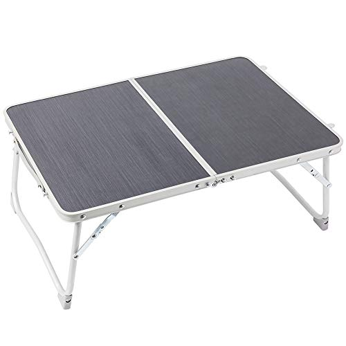 Foldable Laptop Table Superjare Bed Desk Breakfast Serving Bed Tray Portable Mini Picnic Table amp Lightweight Folds in Half with Inner Storage Space  Dark Gray